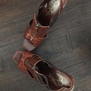 Jessica Simpson Crocodile Skin Platform Sandal